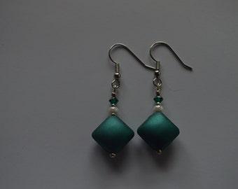 blue diamond shaped beaded earrings