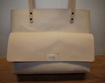 Leather TOTE BAG Natural Veg.Tan Leather High Quality Made in NYC