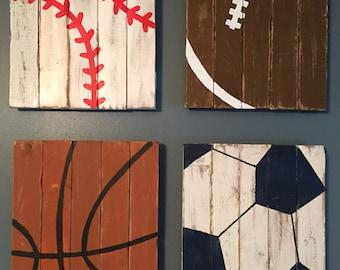 Sports Decor - Baby Boy Nursery - Boys Room Art - Nursery Decor - Distressed Wood - Baseball Decor - Football Decor - Boys Room Decor