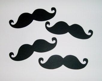 """50 Black cardstock mustaches 4"""" moustaches party favors mustache (3068M)"""