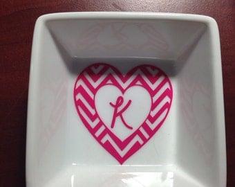 Chevron heart ring dish. Personalized, Monogram