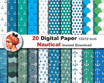 20x  Nautical paper - Digital paper patterns - Scrapbooking Paper, Instant Download (No. 25)