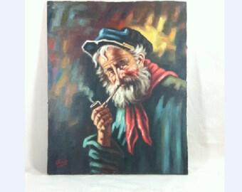 Unframed Oil On Canvas Old Sailor Man 16 x 20