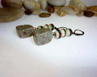 Earrings with a Green Stone and Tibetan Bone Pearls