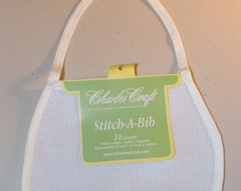 "Charles Craft White 14 Count Stitch-A-Bib (5""X6"") 100% Cotton"