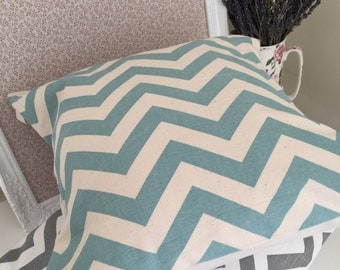 Duck egg blue zig zag cushion