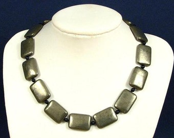 Necklace Pyrite 25mm Flat Pillows 925 NSPY2815