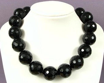 Necklace Black Onyx Huge 25mm Facet Round Beads 925 NSNX3272