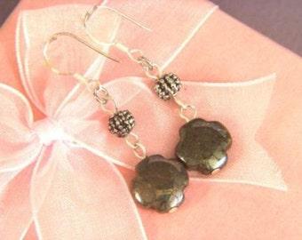 Earrings Pyrite 12mm Flower 925 ESPY1883