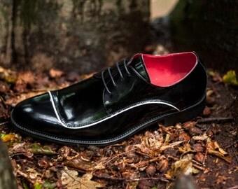 Mens Shoes Formal Black Leather Patent Derbys Wedding Special Occasion Business Gentleman Vintage
