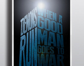 "Wall Decor ""Demons Run"" Typography Print, Doctor Who Poster Wall Art Print Art Poster"