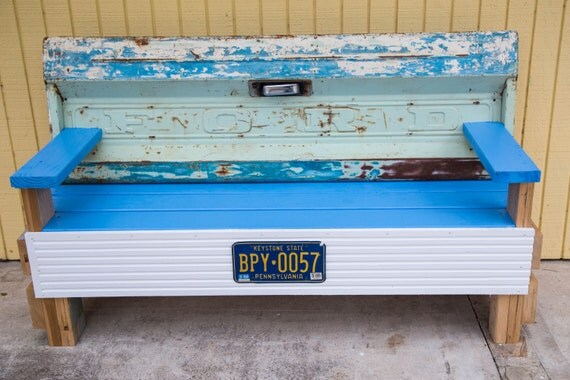 Blue Bench made from Ford Truck