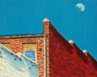 Afternoon Moon, architecture, cityscape, moon, 11.5 x 8, original art, pastel painting