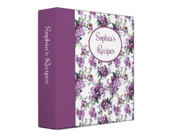 PURPLE LILACS Personalized Recipe Organizer Binder - Perfect Bridal Shower Gift!