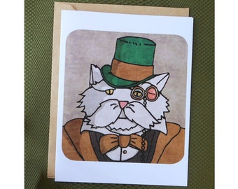 Steampunk Cat Greeting Card, Cat Greeting Card, Steampunk Card, Top Hat, Cards For All Occasions, Blank Card