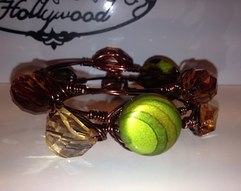 Chocolate Wire Wrapped Bangle, Wire Bangles