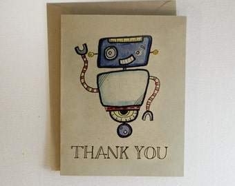 Robot Thank You Card Red and Blue