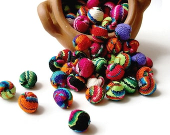 boho beads, boho fabric, jewelry making, round beads, handmade beads LOT OF 50