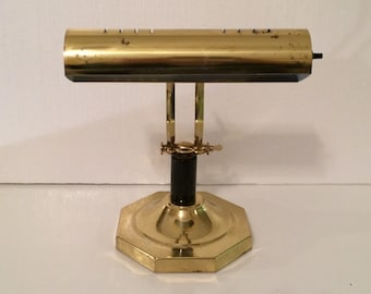 Vintage Brass and Marble Lamp, Solid Brass Bankers Lamp, Vintage Brass Desk Lamp