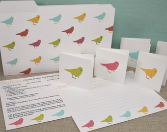 Birds Printable EDITABLE - Recipe Cards with Mini Folder & Gift Tags - Type or Paste Recipes into PDF - No Writing Needed