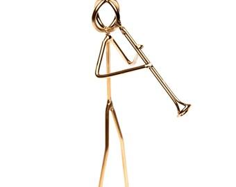 Clarinet player, Metel sculpture figurine