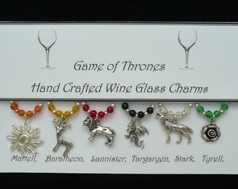 Game of Thrones Set of Wine Glass Charms