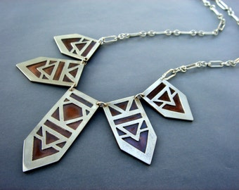 Warrior Collar Necklace- Sterling silver and copper - arrow - tribal - Stonger collection