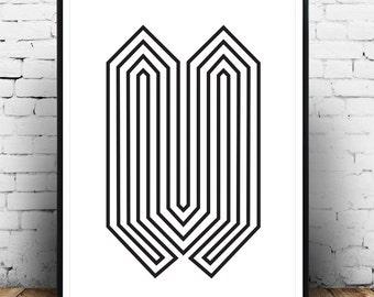 Black and white art, Minimalist poster, Op art print, Abstract art print, Modern poster, Wall print, Wall art, Lines art, Home decor,