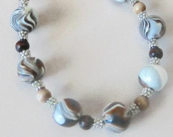 Handcrafted Beaded Bracelet-Brown Swirls