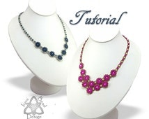 Pdf Tutorial Calendula Flower Necklace with Superduo Beads and Pearls, Beading Pattern