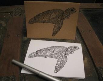 Sea Turtle Note Cards, Ornamental, Intricate, Handdrawn Sea Turtle, Original Art Print, Note Card Set, Blank Greeting Card