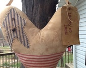 Patriotic Door Hanger, Americana Door Hanger, Primitive Heart Hanger, Grungy Heart  ~ Patriotic Wreath, Prim Wreath ~
