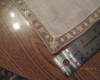 Tatted linen handkerchief