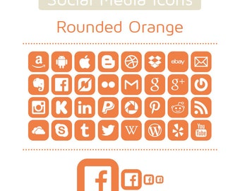 Orange Social Media Icons - Set of 32 - 128 Icons in total