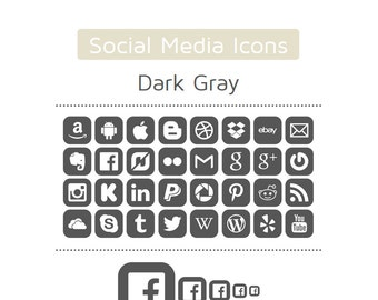Dark Gray Social Media Icons