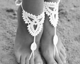 Barefoot sandal, Crochet barefoot sandles, Lace shoes, Crochet barefoot sandal, Beach wedding, Destination wedding, Bridal Footless shoes