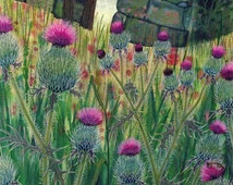 """Art Print: """"Thistledom"""" - A3 thistle print, thistle painting, wall art, wild garden, flower print, floral art, from a painting by Liz Clarke"""