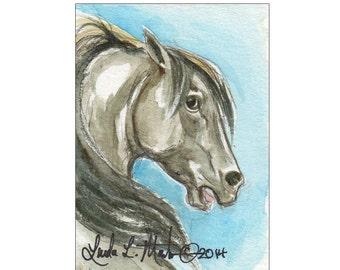Gray Stallion Horse Miniature Collectible  by llmartin Original ACEO Watercolor