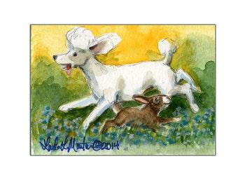 Baby Nursery White Poodle  llmartin Original ACEO Yard Rabbit Watercolor 9 Fun New Mom Free Shipping USA