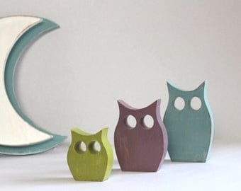 customizable color - mylittledecor - wooden 3 owls customizable owls - OWL in wood.