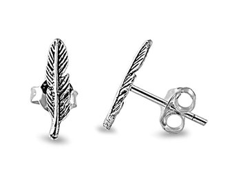 Tiny Feather Stud Earrings Sterling Silver .925
