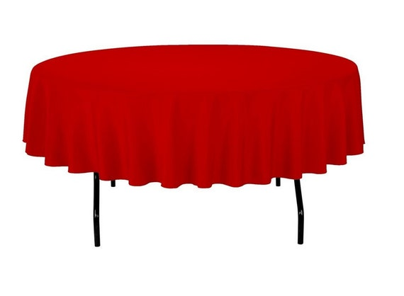 Red Round Polyester 90 Inch Tablecloth Banquet Polyester