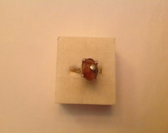 Ring with amber silver 9.25