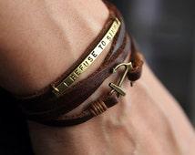 Personalized  Anchor wrap Bracelet,Custom  Bracelet, Personalized Bridesmaid Gift, Monogram, Customized,  Gift for him