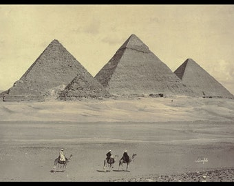 PH13 Vintage 1800's Egypt Egyptian Gizeh Pyramids Poster Re-Print Wall Decor A2/A3