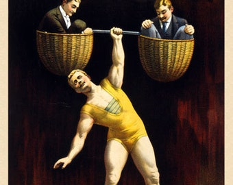 TH3 Vintage Strong Man Circus Carnival Poster Re-Print Wall Decor A1/A2/A3/A4