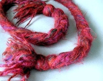 Fuchsia Braided Mohair Scarf - Knotted Ends - Pink - Fringe - Handmade - 1980s