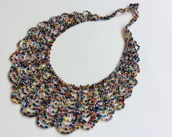 Multi color seed bead lace necklace, made in Santiago Atitlan Guatemala