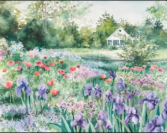 "Garden painting watercolor painting ""Iris & Poppy Garden"" giclee print"