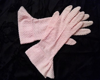 Vintage 1940's Pink and White Raised Polka Dot Gloves with Severe Cuffs